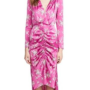 WAYF Ronnie pink ruched midi dress